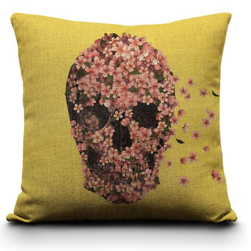 Pillowcase Halloween Flowers Skull Cushion Cover Cotton Linen Size 40*40 Printed Throw Pillows Decorative Factory wholesale