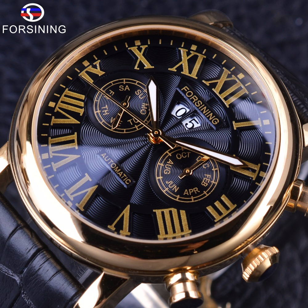 Forsining Classic Luxury Roman Number Calendar Display Vortex Dial Mens Mechanical Watch Top Brand Luxury Automatic Wrist Watch
