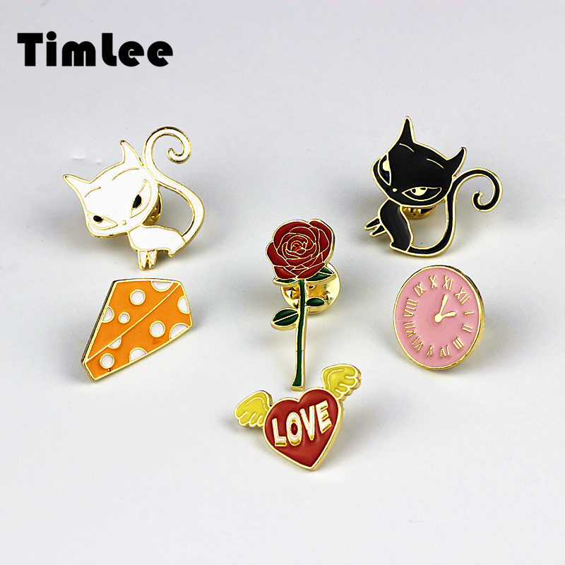 Timlee X222 Ny tegneserie Cute Animal Cat Rose Heart Watches Ost Metal Broche Pins Button Pins Fashion Smykker Engroshandel