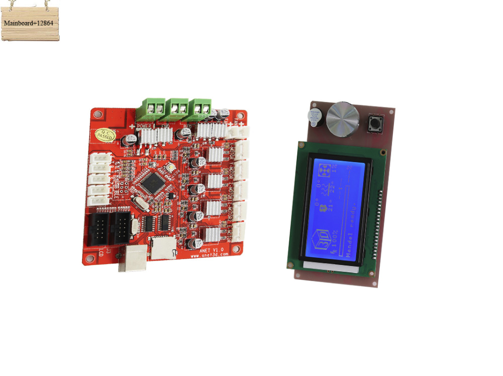 все цены на Hot Sale !!! 1 Piece Mainboard V1.0 And 1 Piece LCD Screen 12864 for Anet A6 3D Printer онлайн