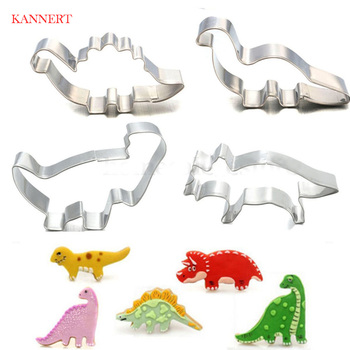 4Pcs/Set Stainless Steel Dinosaur Animal Fondant Cake Cookie Biscuit Cutter Decorating Mould Pastry Baking Tools easter rabbit bunny chick radish mould diy cake biscuit cookie cutter baking tools