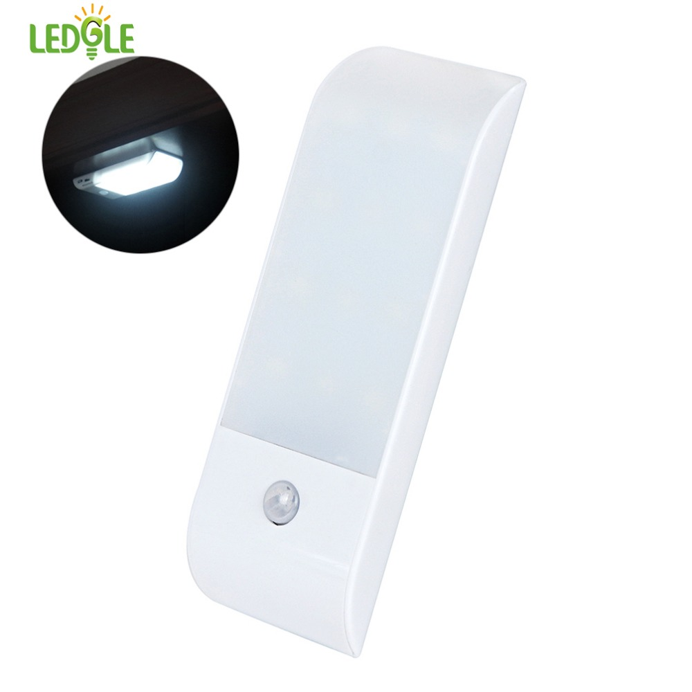 LEDGLE Smart Closet Light Motion Sensor Night Light Cordless LED Lamps for Kitchen Wine Cabinet Inbuilt Battery White Wall Lamp