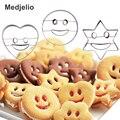 2 piezas Emoji corazón forma de estrella ronda sonrisa cara galleta molde pastel hornear moldes frutas y verduras pan plastilina cortador
