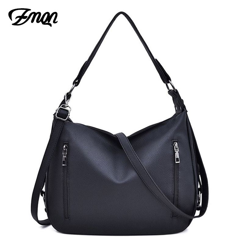 ZMQN Bag Women's Hobos Black Handbags For Women Leather Shoulder Bags 2 Zippers Classic Style Ladies Hand Bags Crossbody A816
