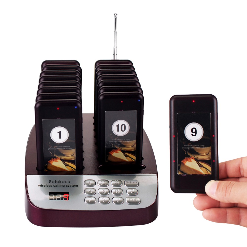 RETEKESS T113S Restaurant Pager Wireless Waiter Calling System 433.92MHz 16 Coaster Pagers Restaurant Equipment Customer Service restaurant service