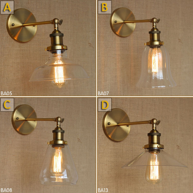 American Country Industrial Iron Simple & Retro Loft Glass Wall Lamp Golden Hotel Decoration Light Bar Wall Lamp Edison Fixtures