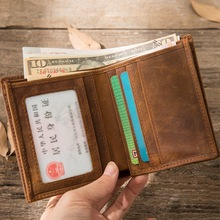 цена на 2019 Vintage Crazy Horse Handmade Leather Men Wallets Multi-Functional Cowhide Vintage Purse Genuine Leather Wallet For Men