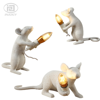 Retro Italy Seletti Resin Mouse Table Lights Creative Resin Mickey Mouse Arts Bedside Desk Lamps Gift Decoration