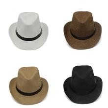 Verano papel paja sombreros jazz Fedoras con hebilla de cinturón al aire  libre ala ancha playa viaje sombrilla sombrero de vaque. 59fc3cb58e1a