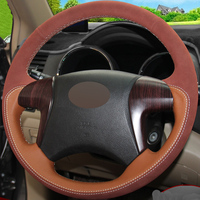 Orange Genuine Leather Brown Suede DIY Hand stitched Car Steering Wheel Cover for Toyota Highlander Toyota Camry 2007 2011