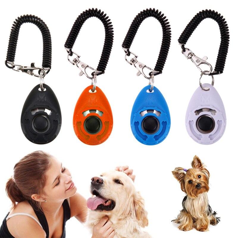 1 Pc Pet Trainer Dog Training Hond Clicker Verstelbare Sound Sleutelhanger En Polsband Doggy Trein Klik Dog Training Kraag Een Lang Historisch Aanzien Hebben