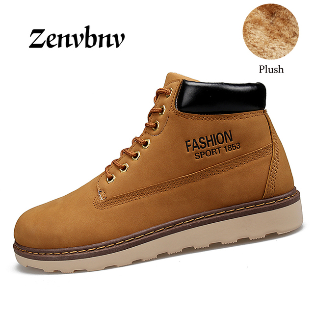 ZENVBNV 2017 Winter Men fur Boots Cotton Shoes Lace-up Style Trend Fashion Man High Top Plush Keep Warm Snow Shoes 39-44 size