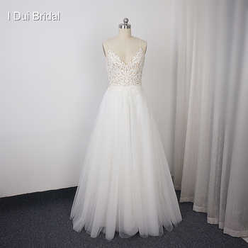 Spaghetti Strap Wedding Dress A Line Lace Appliqued Pearl Beaded Top Tulle Skirt - DISCOUNT ITEM  0% OFF All Category