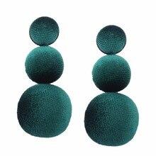 LZHLQ Brand 2017 New Fashion Velvet Earrings Green Ball Drop Long Pendant Earrings for Women Gifts Korean Jewelry Earrings