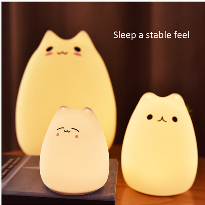 Mini LED USB Children Cat Silicone Soft Cat Baby Night Light Battery Dream Cute Cat 7 Colourful Creative Rechargable Lights