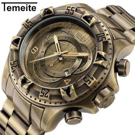 TEMEITE Vintage Fashion Watch Men Quartz Clock Copper Stainless Steel Strap Date Display Top Brand Luxury Big Case Wristwatches