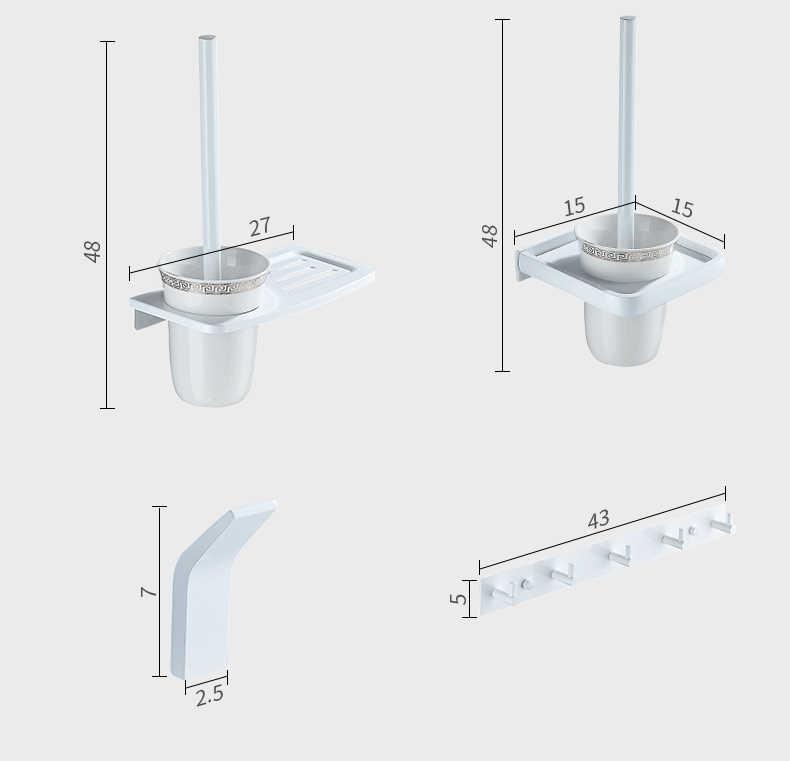 浴室付属品セット爪送料アルミ白バスウェアセットタオルラック、紙ホルダートイレブラシホルダーローブフック