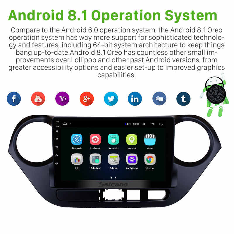 Seicane 2Din GPS Auto Radio Stereo Voor 2013 2014 2015 2016 HYUNDAI I10 LHD Android 8.1 9 Inch Wifi Hoofd unit Multimedia Speler