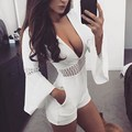 2017 Summer Deep V Sexy Womens Club Rompers Jumpsuits White Elegant Long Flare Sleeve Hollow Out Short Playsuits Casual Overalls
