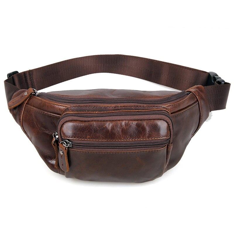 Nesitu haute qualité Vintage marron 100% garantie peau véritable en cuir véritable hommes taille sacs femmes homme sac M7218