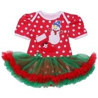 Çocuklar için sevimli Kardan Adam Kırmızı Bebek Noel Kostümleri Tutu Dantel Romper Elbise Toddler Atlamacı Macacao Bebe Yenidoğan Bebek Kız Giysileri
