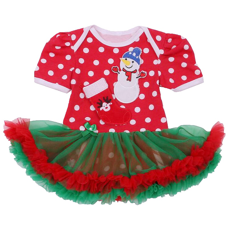 Cute Snowman Red Baby Christmas Costumes for Kids Tutu Lace Romper Dress Toddler Jumper Macacao Bebe Newborn Baby Girl Clothes
