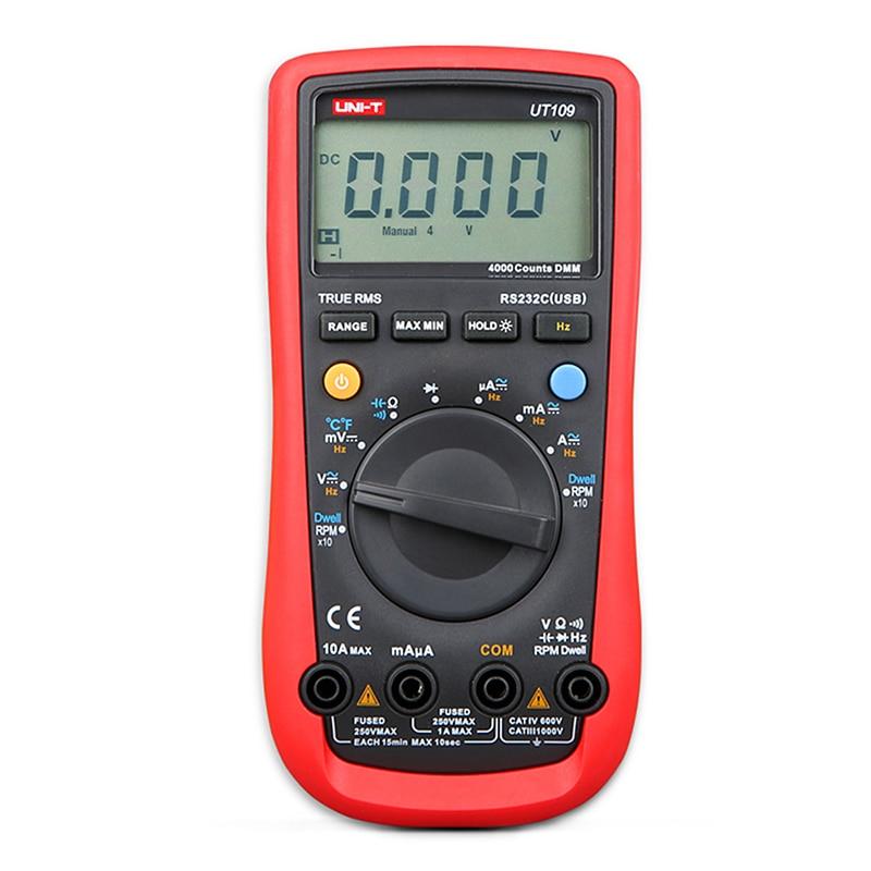 ФОТО UNI-T UT109 Digital Automotive Multimeter Handheld Automotive Multi-Purpose Meters Ammeter Ohm Volt Hz Digital Universal Meter