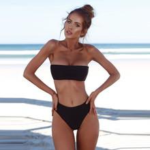 2020 sexy Bikini kobiety Bandeau bandaż bikini Set Push-Up brazylijskie stroje kąpielowe kostiumy kąpielowe strój kąpielowy biquini stroje kąpielowe mikrobikini # V tanie tanio WHooHoo CN (pochodzenie) Stałe Osób w wieku 18-35 lat Wysokiej talii Drut bezpłatne WOMEN Pasuje prawda na wymiar weź swój normalny rozmiar