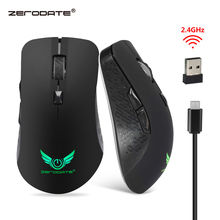 лучшая цена ZERODATE  Rechargeable 2400 DPI  2.4G Wireless Portable Mobile Mouse 6-Button Built-in Battery USB Optical mice  for PC Laptop
