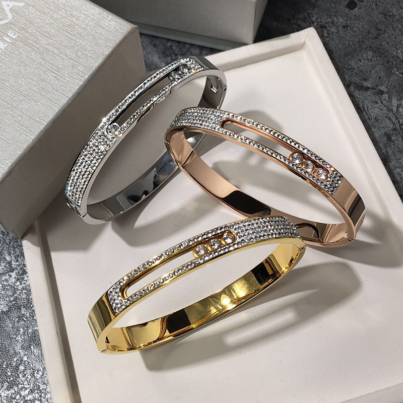 Titanium Steel Rose Gold Buckle Mobile Bracelet with Cubic Zirconia Hinged Bangle For Women 3 Color Never fade titanium steel link cubic zirconia studded couple bracelet