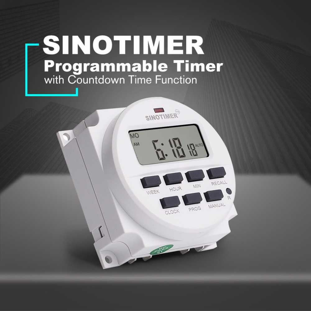 SINOTIMER TM618N-2 220V LCD Digital AC Programmable Timer Switch With UL Listed Relay Inside with Countdown Time Function tm619 ac 220v 230v 240v digital timer 7 days programmable time switch relay with ul listed relay 16a easy wiring with flap