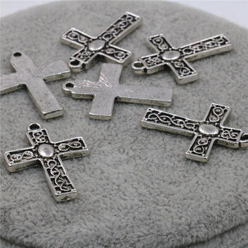10PCS Accessories Jewelry Making Design Copper Metal Lucky Cross Kaddish DIY Loose Finding Pendant Necklace Girl Women 22x18mm image