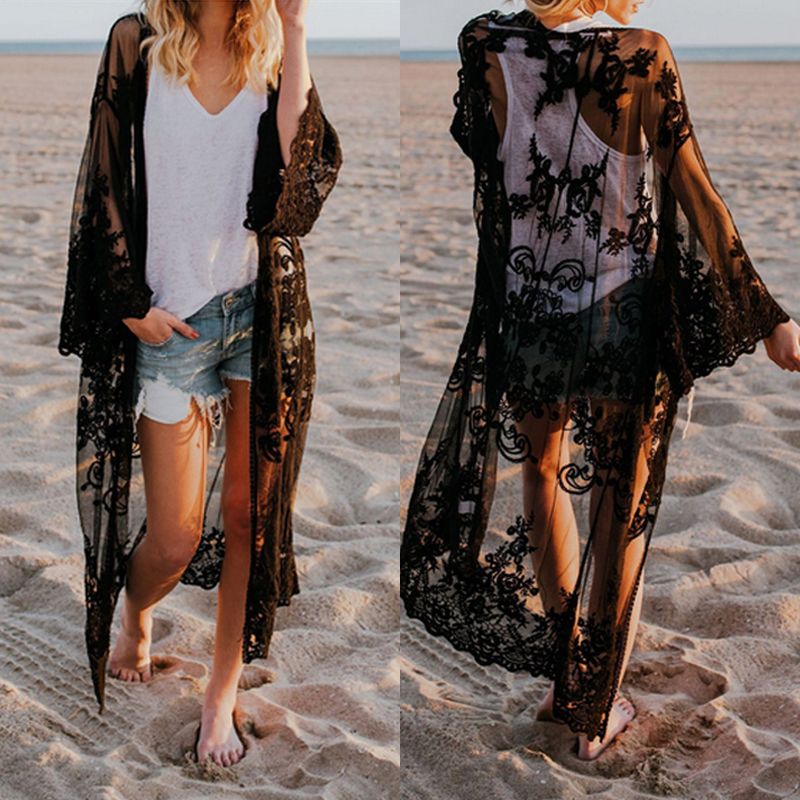 fb75cc65a0013 Women Lace Cardigan Kaftan Shawl Coat Beach Wear Swimwear Cover Up Blouse  Tops Cape Pareo 2018 Sexy Bathing Suit-in Cover-Ups from Sports &  Entertainment on ...
