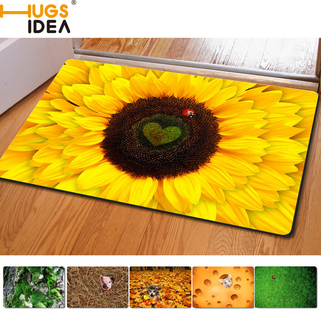 Hugsidea gelb floral design boden carpet 3d sonnenblumen gedruckt ...