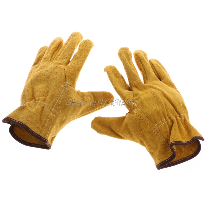 1Pair Cowhide Safety Protective Gloves Welding Welder Work Repair Wear-Resistant G08 Drop ship