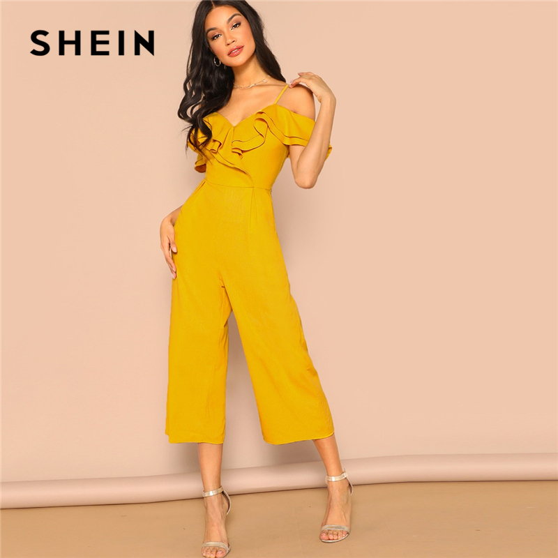 SHEIN Cold Shoulder Layered Flounce Foldover Palazzo Jumpsuit Party Ruffle Spaghetti Strap Sleeveless Women Summer Jumpsuits