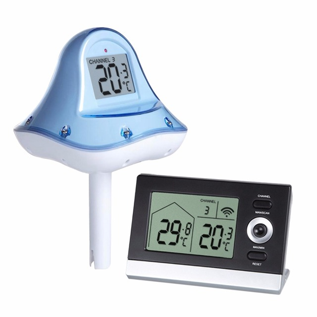 Digitale draadloze drijvende zwembad thermometer 10 tot 60 - Thermometre de piscine digital ...