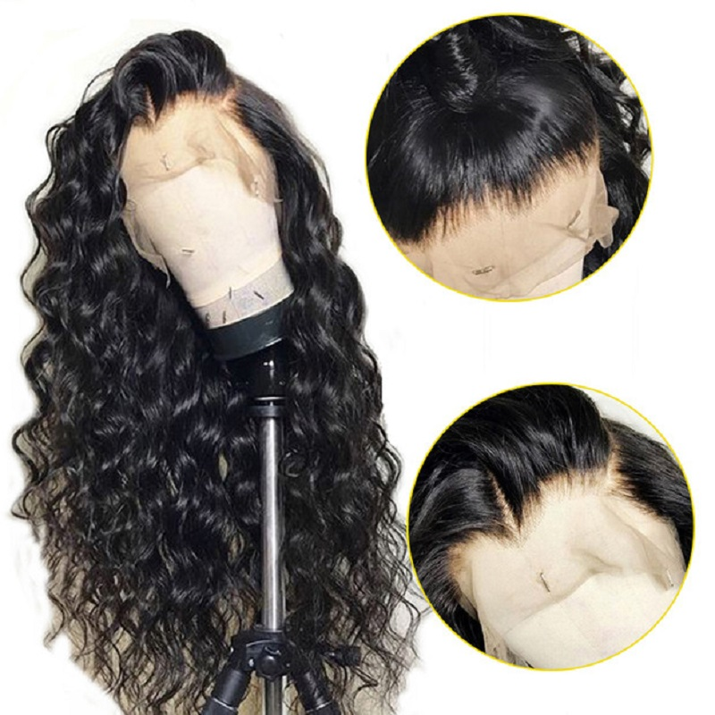 Water Wave Wig 360 Lace Frontal Human Hair Wigs Pre plucked With Baby Hair GEM Remy