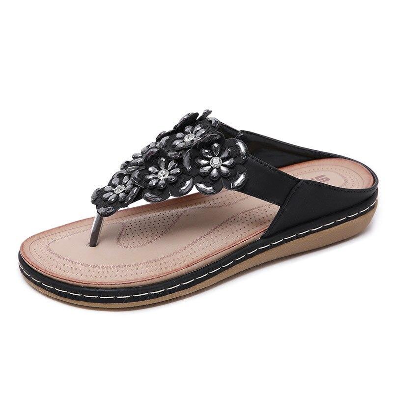 black Strass Hausschuhe 2019 Strand Komfortable Blume Frauen Weiblichen Sandalen Für Flip Schuhe White flops Böhmen red Sommer Flache XwFPaqp