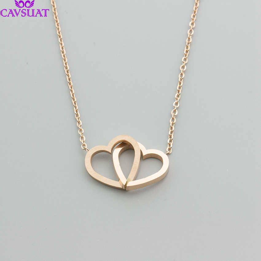 0953e718be3ea Simple Double Heart Pendant Necklace Chain Jewelry Minimal Layering Knot  Love Heart Necklace Intertwined Ketting Hanger Hart