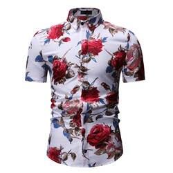 Мужская гавайская рубашка с цветочным принтом, модные рубашки с коротким рукавом, повседневные топы, летние рубашки, оптовая продажа, 150 шт