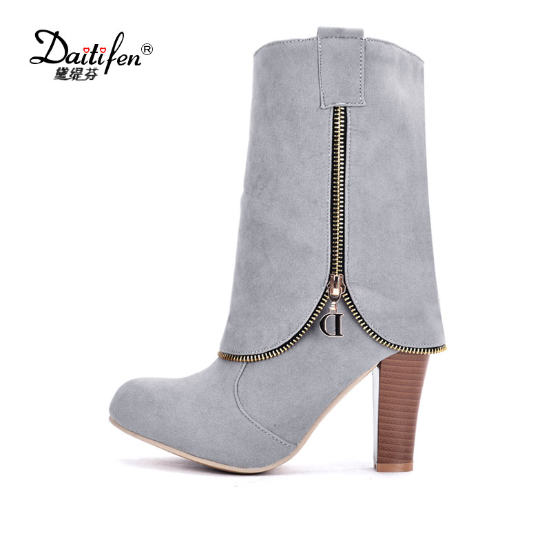 Daitifen 2017 Fashion Womens Shoes Boots Knee High Flock Plus Size High Heels Slip on Stretch Fabric Woman Long Boots size 43