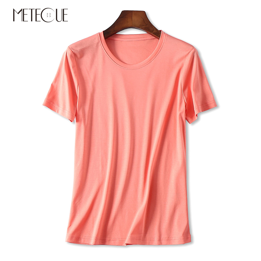 Casual 100 Double sided Mercerized Cotton Tee Shirts Women T shirt Brief O Neck Short Sleeve