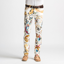 men pants Spring autumn thin jeans boy men's slim trousers stamp stretch size flower pants singer dancer casual prom party