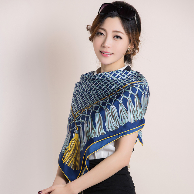new 2016 brand 100% pure Silk scarf women  female spring winter green large square plaid silk scarves tassel painting 90*90cm