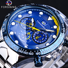Forsining Brand 2019 Men Automatic Blue Sports Watch Stainless Steel Band Waterproof Clock Mechanical Business Relogio Masculino