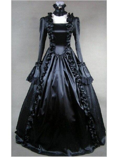 Noir Mascarade Gothique Robes De Bal victorienne
