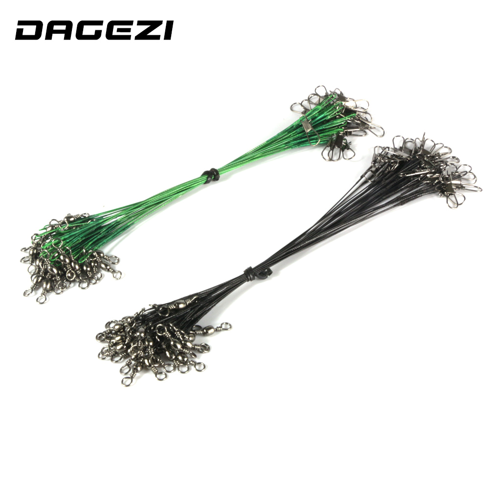 DAGEZI 30PCS/lot Fishing Line Steel Wire Leader fishing tackle box fishing gear accessories Connector copper swivel outkit 10pcs lot copper lead sinker weights 10g 7g 5g 3 5g 1 8g sharped bullet copper fishing accessories fishing tackle