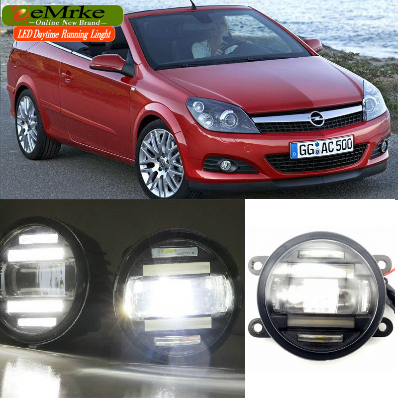 eeMrke Car Styling For Opel Astra TwinTop 2006-2010 2 in 1 LED Fog Light Lamp DRL With Cut-line Lens Daytime Running Lights