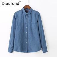Dioufond 2017 Autumn Woman Denim Shirt Fashion Long Sleeve Casual Shirts Women 2 Colors Blouses Plus Size Blusa Jeans Feminina